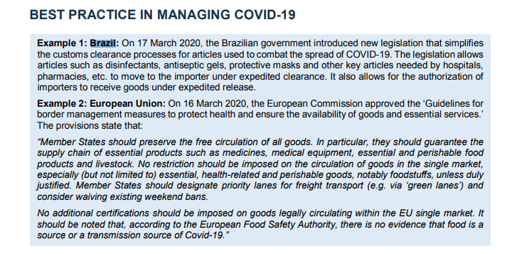 Imagem: Trade and COVID-19 Guidance Note – Managing Risk and Facilitating Trade in the COVID-19 Pandemic